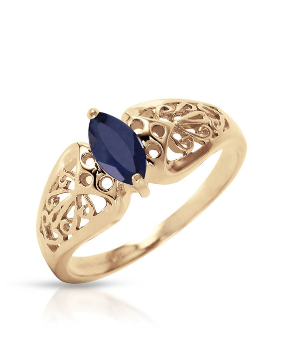 MAGNOLIA 0.20 CTW Marquise Blue Sapphire 14K Gold Ladies Ring Size 8
