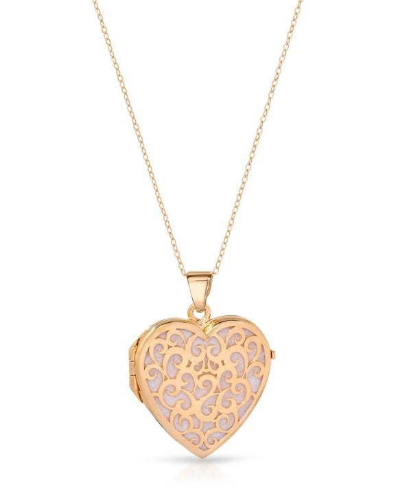MILLANA Made In Italy Gold Plated Silver Heart Ladies Necklace Length 18 in