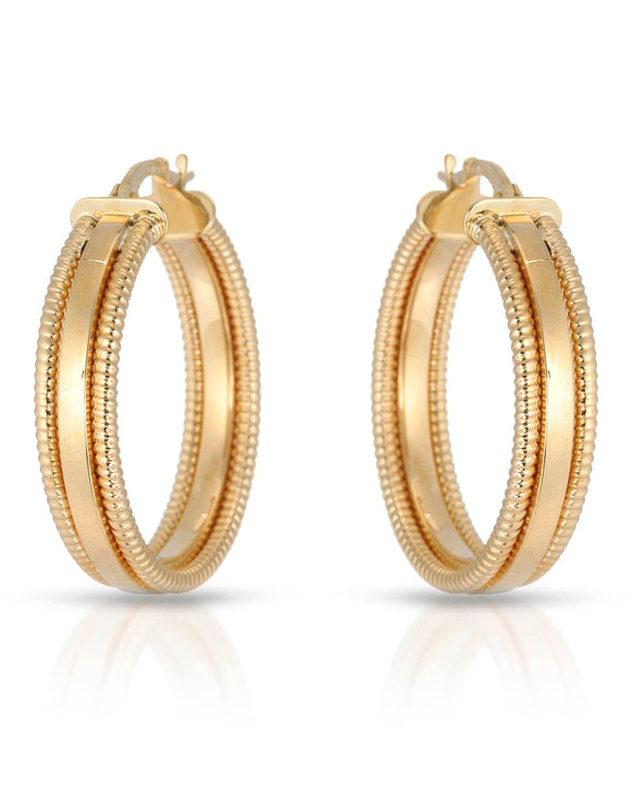 MILLANA Made In Italy 14K Gold Hoop Ladies Earrings Weight 3.2g. Length 26 mm