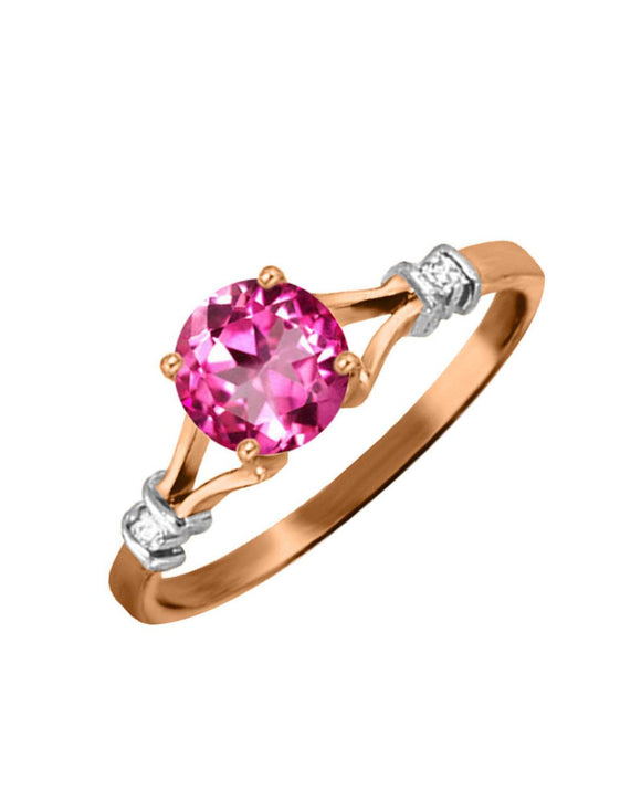 MAGNOLIA 1.03 CTW Accent Round Pink Topaz 14K Gold Ladies Ring Size 8