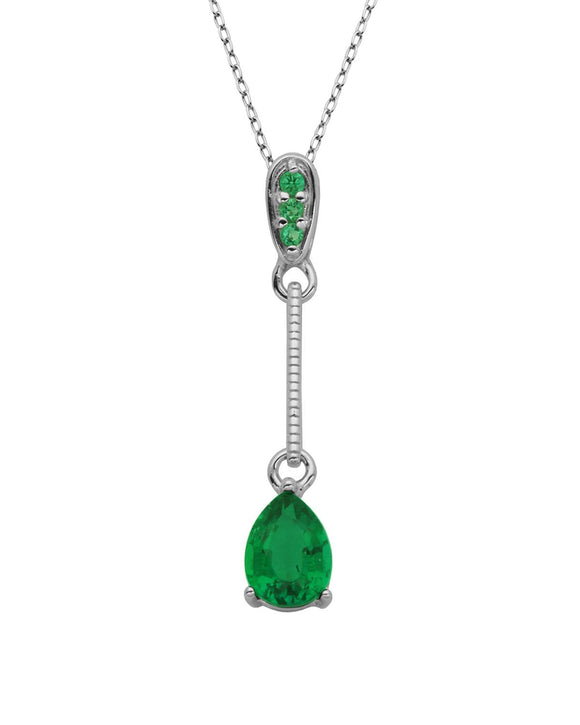 0.77 CTW Pear Green Emerald Sterling Silver Ladies Necklace Length 18 in