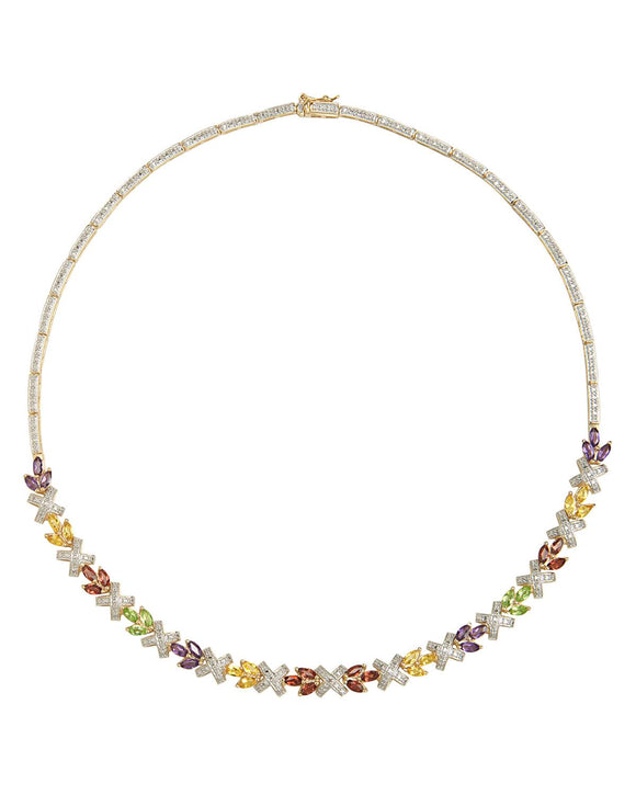 4.68 CTW Accent Marquise Reddish Brown Garnet Gold Plated Silver Ladies Necklace
