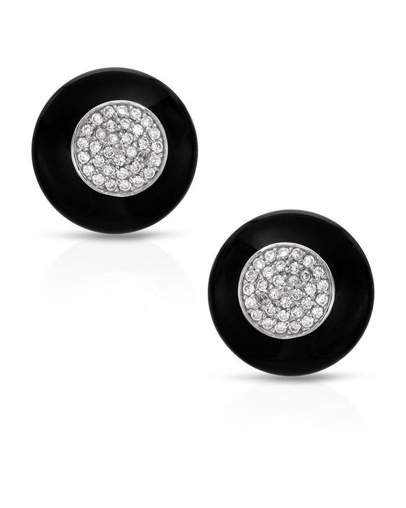 Fancy Black Onyx Sterling Silver Stud Ladies Earrings Weight 11.0g.