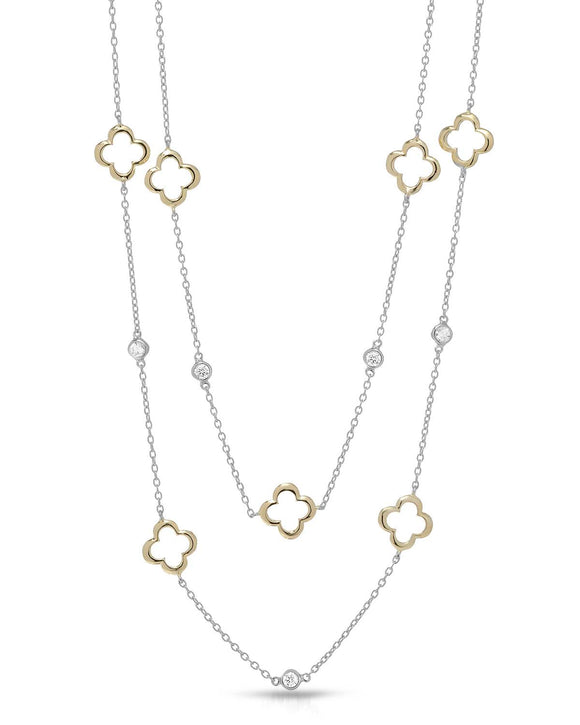 MILLANA Made In Italy White Cubic Zirconia Gold Plated Silver Ladies Necklace