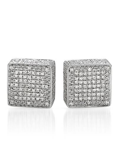 LUNDSTROM 0.60 CTW H-I I2 Round Diamonds Sterling Silver Stud Ladies Earrings