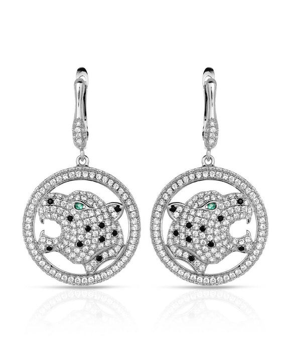 Round Multicolor Cubic Zirconia Sterling Silver Circle Ladies Earrings