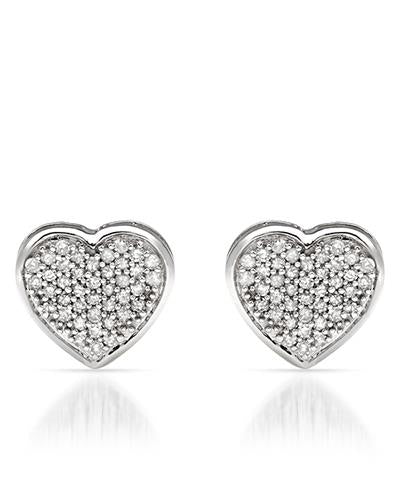LUNDSTROM 0.27 CTW G-H I1-I2 Round Diamonds 14K Gold Heart Ladies Earrings