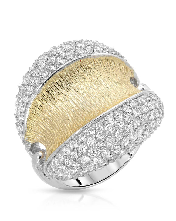 AURORA BOREALIS Cubic Zirconia Gold Plated Silver Cocktail Ladies Ring Size 8