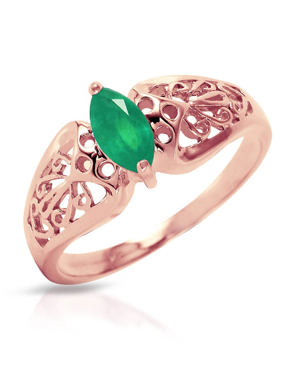 MAGNOLIA 0.20 CTW Marquise Green Emerald 14K Gold Ladies Ring Size 8