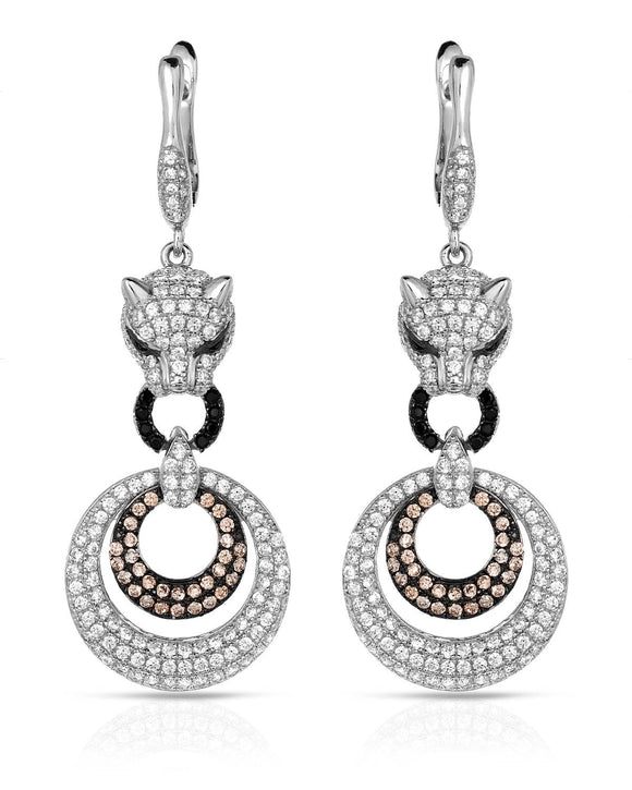Round Multicolor Cubic Zirconia Sterling Silver Dangle Ladies Earrings