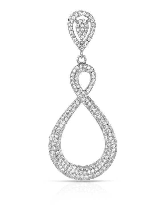Round White Cubic Zirconia Sterling Silver Ladies Pendant Length 50 mm