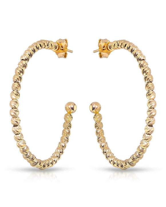 MILLANA Made In Italy Gold Plated Silver Hoop Ladies Earrings Weight 5.8g.