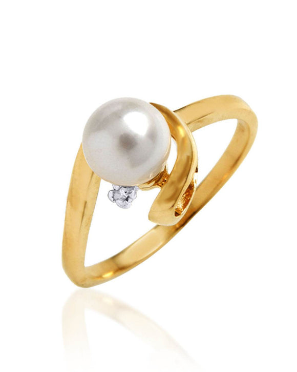 MAGNOLIA SI1 Round White Freshwater Pearl 14K Gold Ladies Ring Size 8