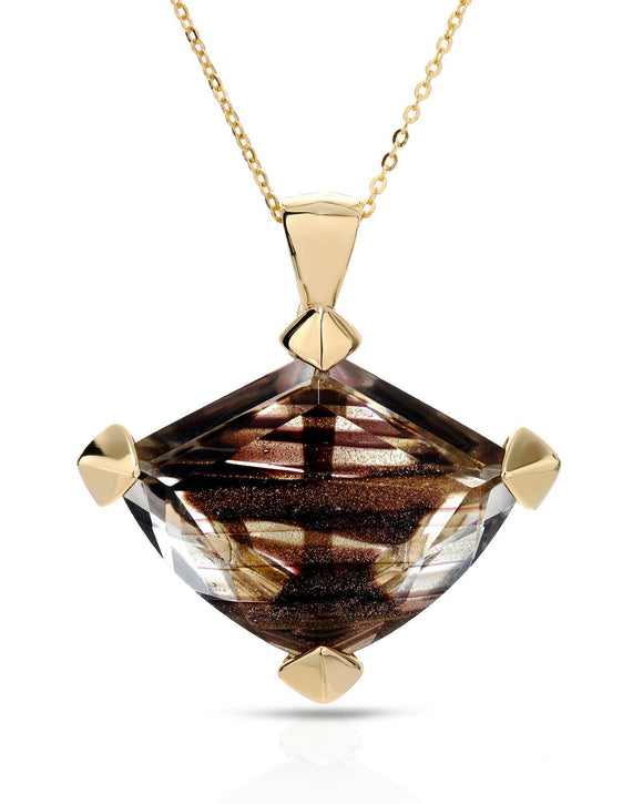 Made In Italy Fancy Brown Cubic Zirconia Gold Plated Silver Ladies Necklace