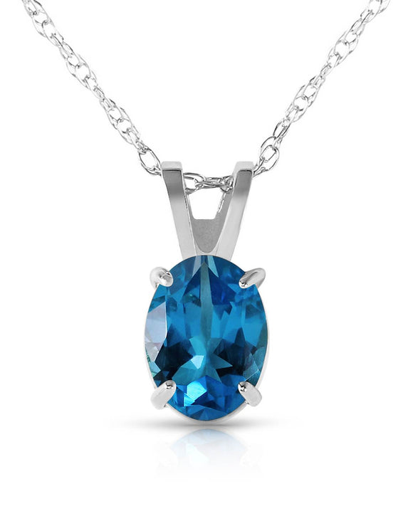 MAGNOLIA 0.85 CTW Oval Blue Topaz 14K Gold Ladies Necklace Length 18 in