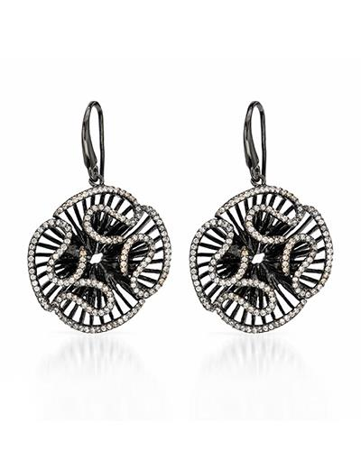 6.10 CTW Round White Cubic Zirconia Sterling Silver Drop Ladies Earrings