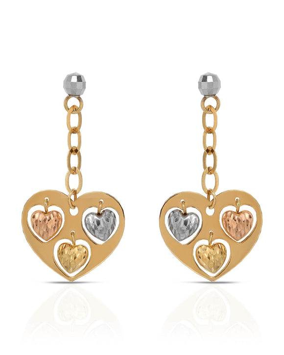 MILLANA Made In Italy 14K Gold Heart Ladies Earrings Weight 2.4g. Length 33 mm