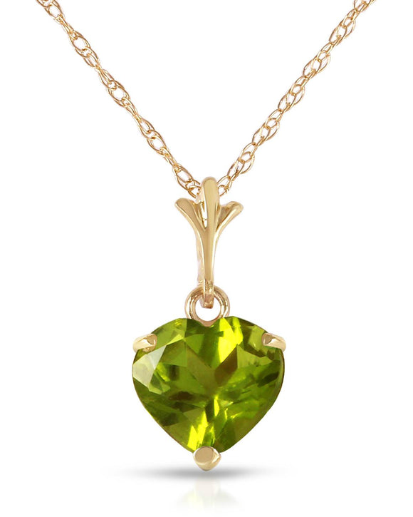 MAGNOLIA 1.15 CTW Heart Golden Green Peridot 14K Gold Heart Ladies Necklace