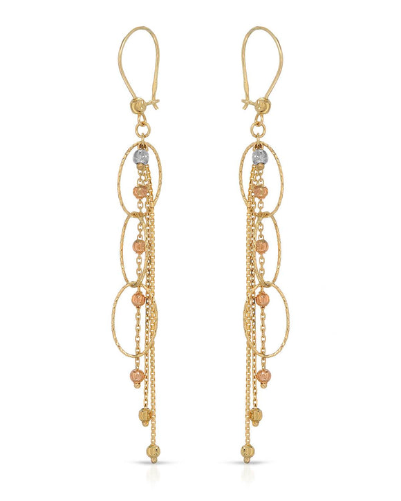 MILLANA Made In Italy 14K Gold Dangle Ladies Earrings Weight 3.2g. Length 75 mm