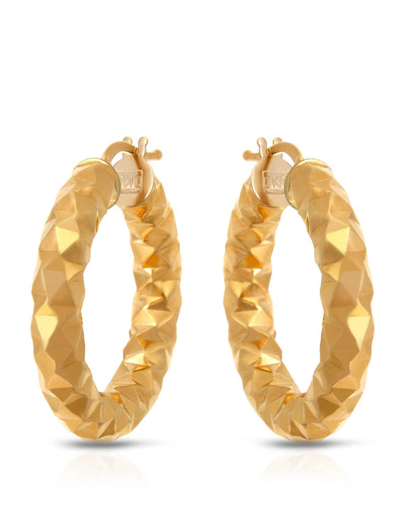 MILLANA Made In Italy 14K Gold Hoop Ladies Earrings Weight 3.8g.