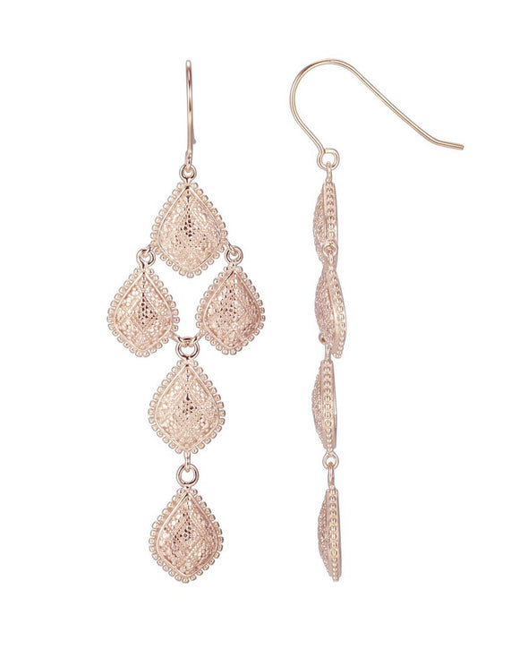 Gold Plated Silver Chandelier Ladies Earrings Weight 10.4g. Length 70 mm