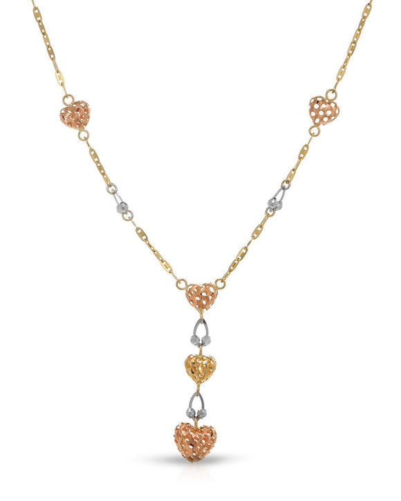 14K Gold Heart Ladies Necklace Weight 2.9g.