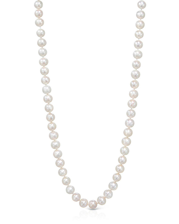 Beaded White Freshwater Pearl 14K Gold Ladies Necklace Length 17 in