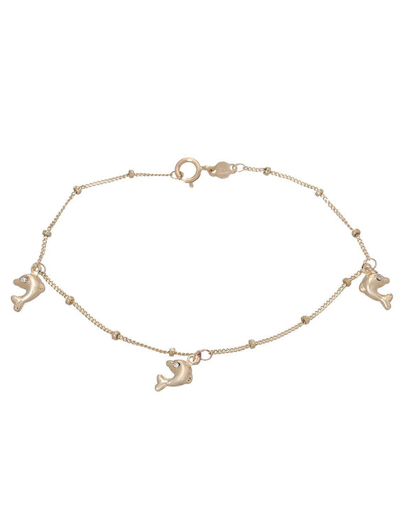 GOLDEN ARC JEWELRY Made In Italy Round White Crystal Gold Girl Bracelet