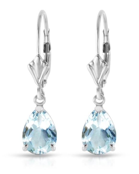 MAGNOLIA 2.85 CTW Pear Sky Blue Aquamarine 14K Gold Drop Ladies Earrings