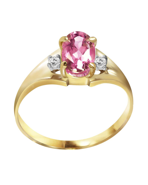 MAGNOLIA 0.76 CTW Accent Oval Pink Topaz 14K Gold Ladies Ring Size 8
