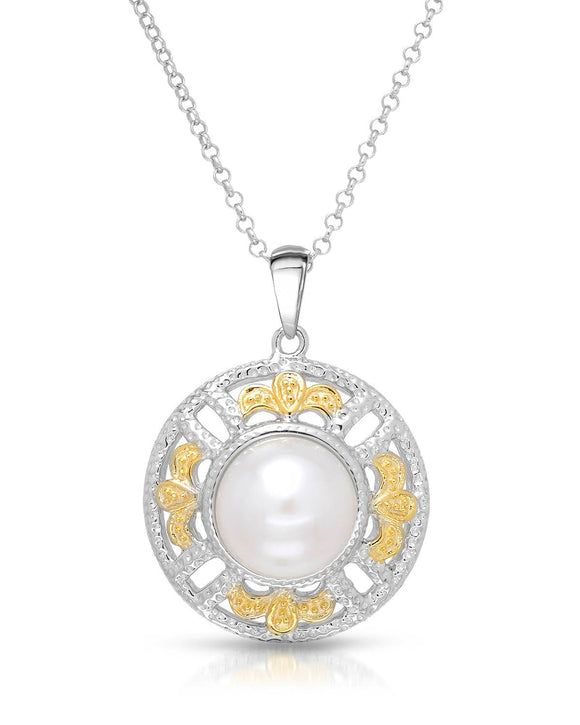 MILLANA Made In Italy White Freshwater Pearl Gold Plated Silver Ladies Necklace
