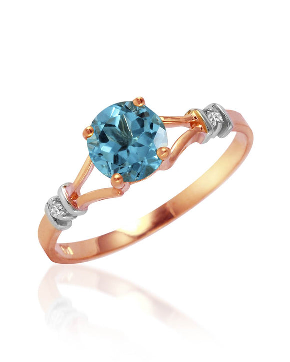 MAGNOLIA 1.04 CTW SI2 Round Sky Blue Topaz 14K Gold Ladies Ring Size 8