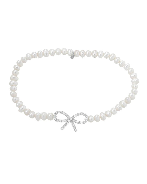 MILLANA Made In Italy White Freshwater Pearl Sterling Silver Ladies Bracelet