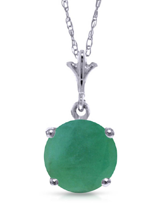 MAGNOLIA 1.25 CTW Round Green Emerald 14K Gold Ladies Necklace Length 18 in