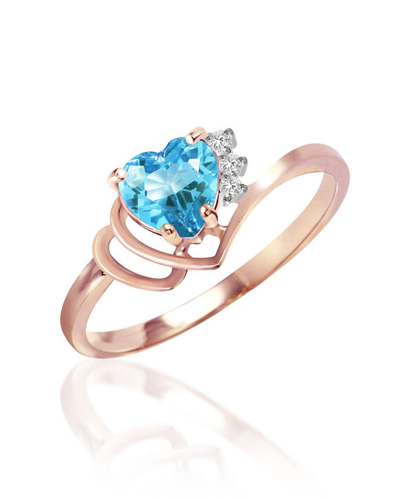 MAGNOLIA 0.99 CTW Accent Heart Sky Blue Topaz 14K Gold Heart Ladies Ring Size 8