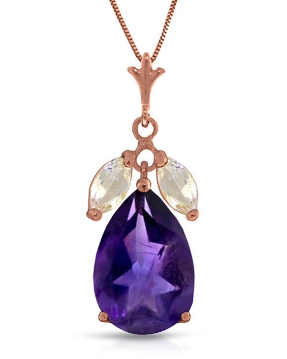 MAGNOLIA 6.50 CTW Pear Purple Amethyst 14K Gold Ladies Necklace Length 18 in