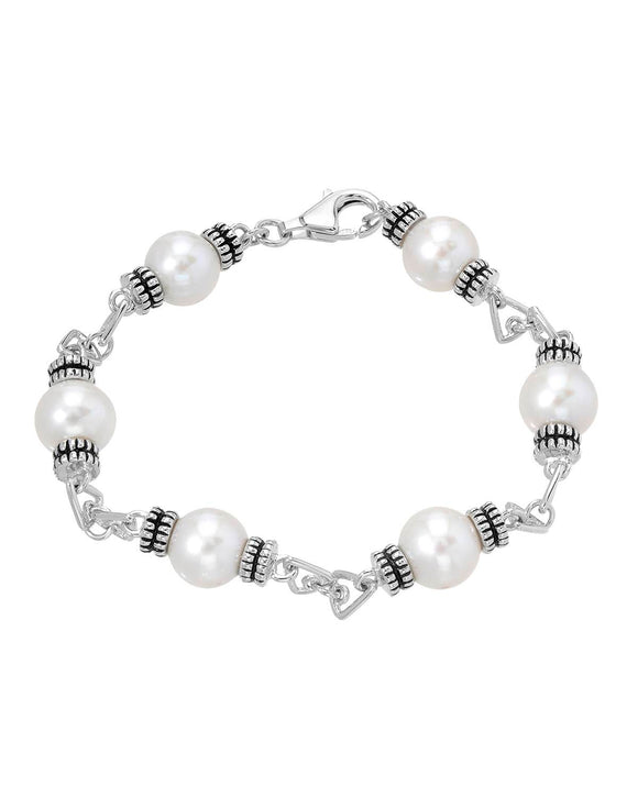 Beaded White Freshwater Pearl Sterling Silver Ladies Bracelet Length 7 in