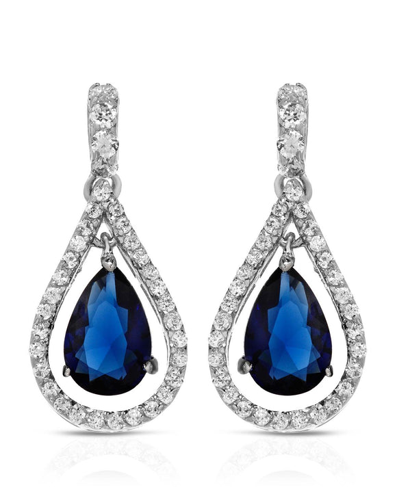 Pear Blue Crystal Sterling Silver Drop Ladies Earrings Weight 3.9g. Length 24 mm