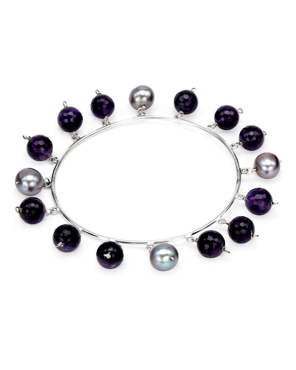 60.50 CTW Beaded Purple Amethyst Sterling Silver Ladies Bracelet Length 8 in