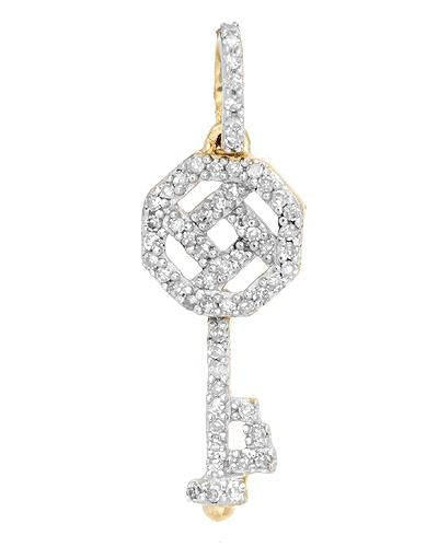 LUNDSTROM 0.15 CTW I-J I2 Round Diamonds Gold Ladies Pendant Length 23.0 mm