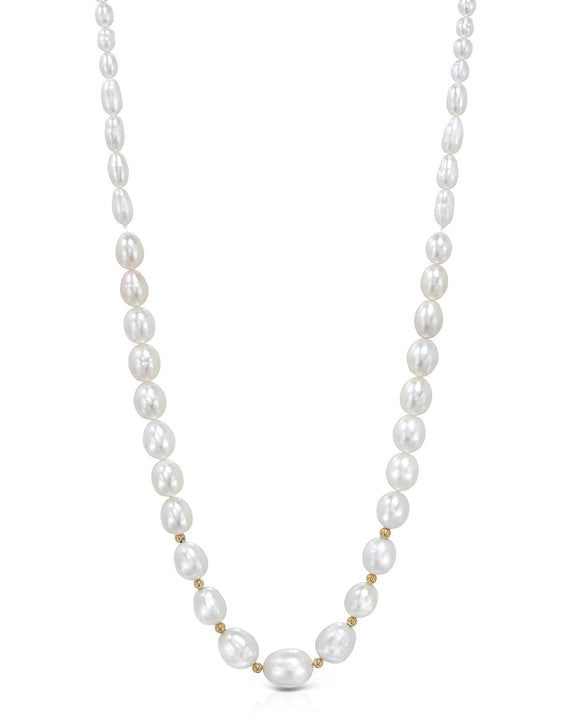 Beaded White Freshwater Pearl 14K Gold Ladies Necklace Length 18 in