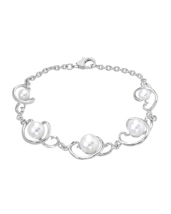 Semi-Round White Freshwater Pearl Sterling Silver Ladies Bracelet Length 7.5 in