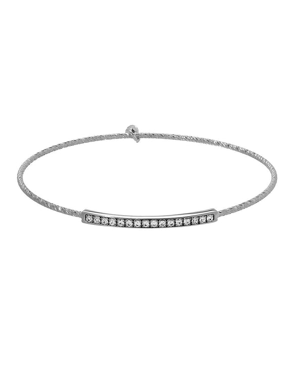 MILLANA Made In Italy Round White Crystal Sterling Silver Bangle Ladies Bracelet