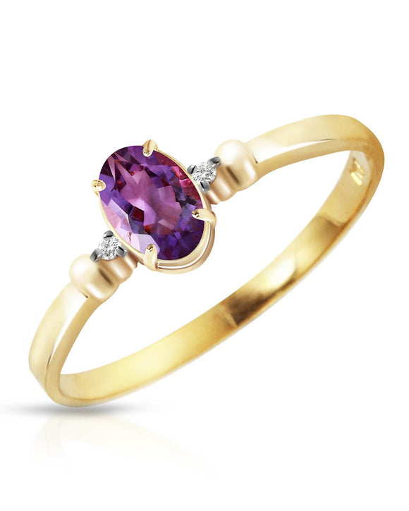 MAGNOLIA 0.46 CTW Accent Oval Purple Amethyst 14K Gold Ladies Ring Size 8