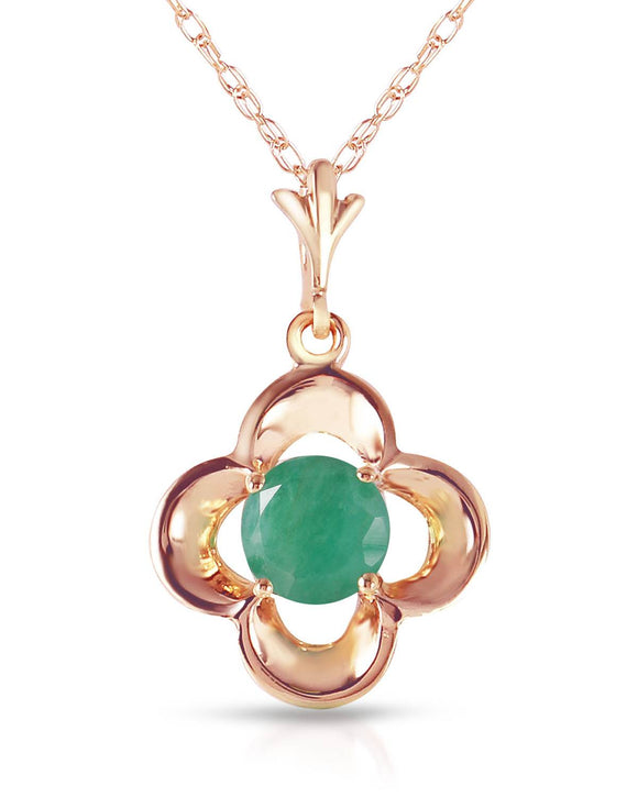 MAGNOLIA 0.55 CTW Round Green Emerald 14K Gold Ladies Necklace Length 18 in