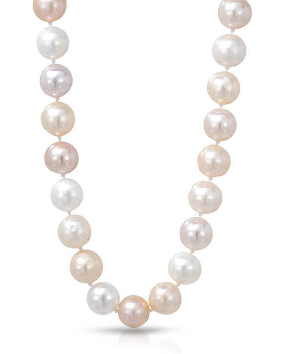 Beaded Multicolor Freshwater Pearl 14K Gold Ladies Necklace Length 18 in