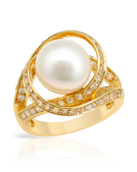 Made In Usa Freshwater Pearl Gold Plated Silver Cocktail Ladies Ring Size 9