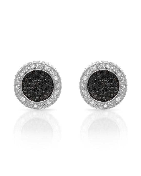 LUNDSTROM 0.50 CTW Opaque Round Diamonds Sterling Silver Stud Ladies Earrings