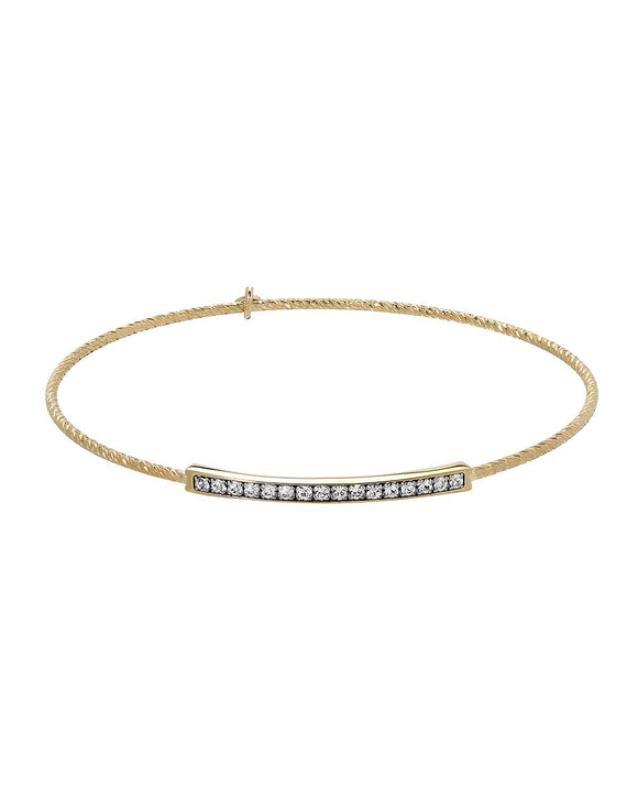 MILLANA Made In Italy White Crystal Gold Plated Silver Bangle Ladies Bracelet
