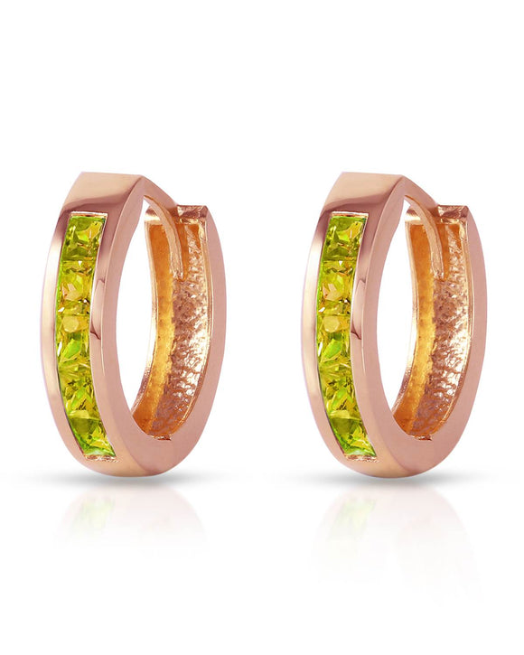 MAGNOLIA 1.00 CTW Princess Golden Green Peridot 14K Gold Hoop Ladies Earrings